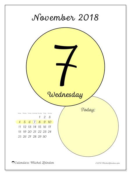Calendar November 2018 (45-7SS). Free printable daily calendar.