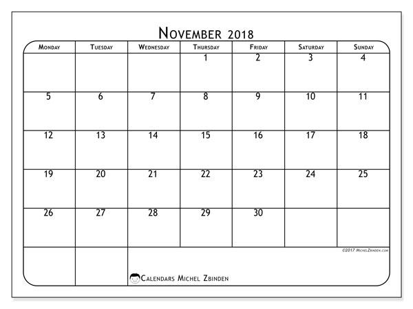Calendar November 2018 (51MS). Calendar for the month to print free.