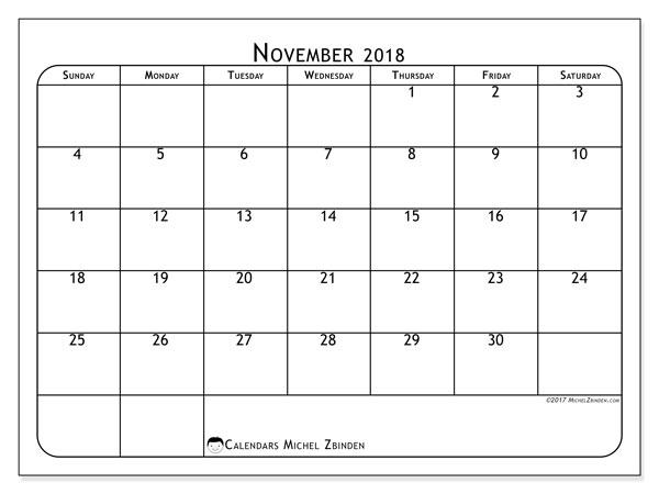 Calendar November 2018 (51SS). Bullet journal to print free.