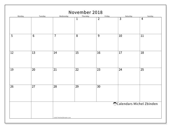 Calendar November 2018 (53MS). Free planner to print.