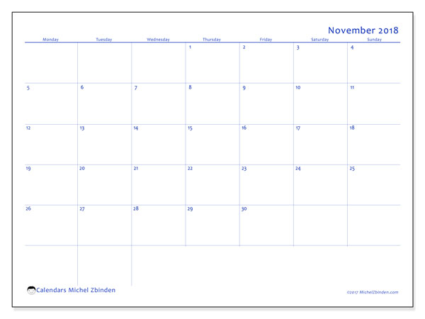 Calendar November 2018 (55MS). Monthly planner to print free.