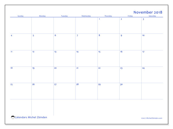 Calendar November 2018 (55SS). Monthly planner to print free.