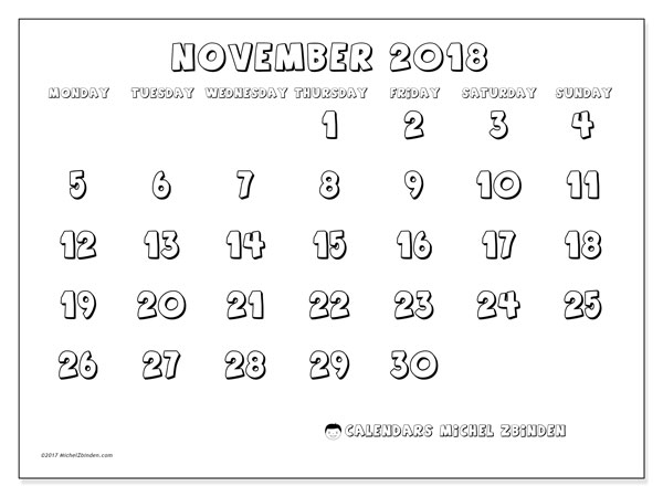 Calendar November 2018 (56MS). Calendar for the month to print free.
