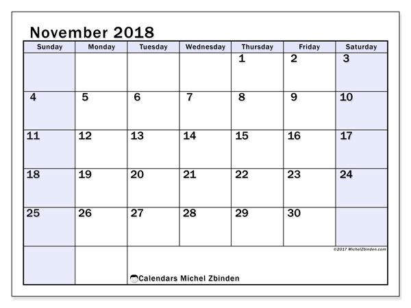 Calendar November 2018 (57SS). Monthly planner to print free.
