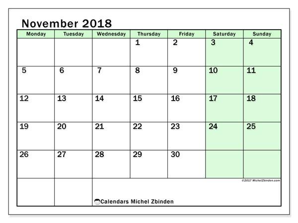 Calendar November 2018 (60MS). Free calendar to print.