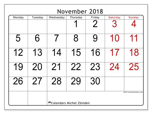 Calendar November 2018 (62MS). Free printable monthly calendar.