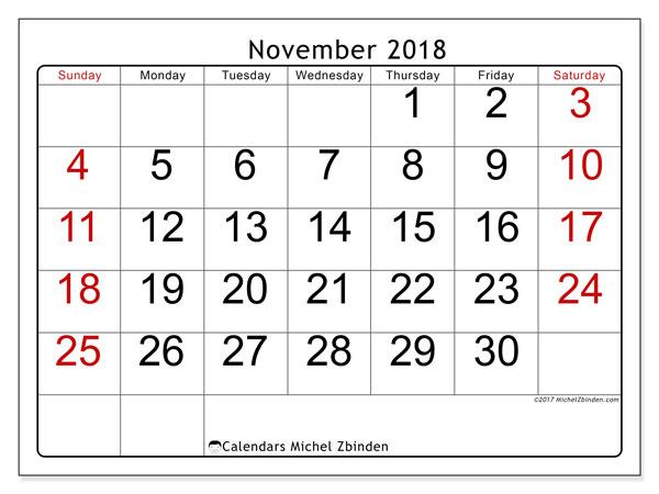 Calendar November 2018 (62SS). Free calendar to print.