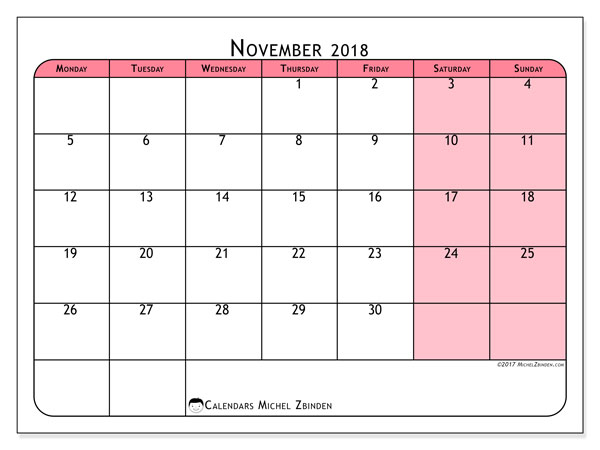 Calendar November 2018 (64MS). Free printable monthly calendar.