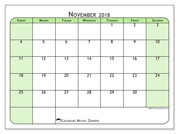 Calendar November 2018 (65SS). Monthly calendar to print free.