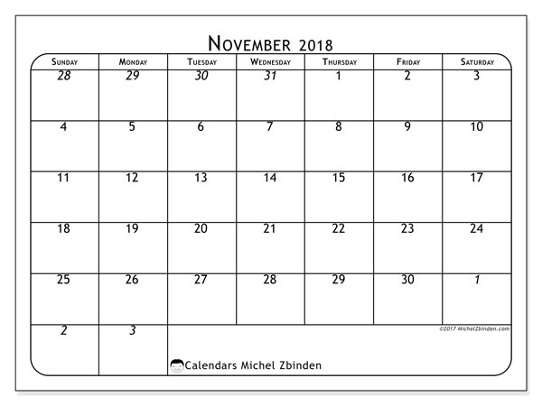 Calendar November 2018 (67SS). Free calendar to print.