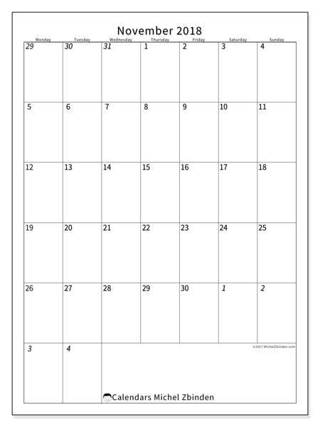 Calendar November 2018 (68MS). Free printable monthly calendar.