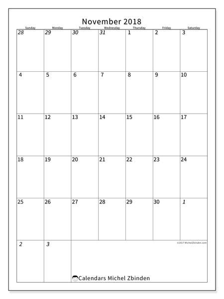 Calendar November 2018 (68SS). Free printable monthly calendar.