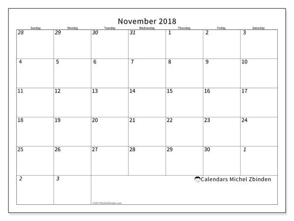 Calendar November 2018 (70SS). Free planner to print.