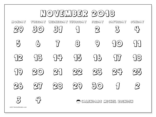 Calendar November 2018 (71MS). Monthly planner to print free.