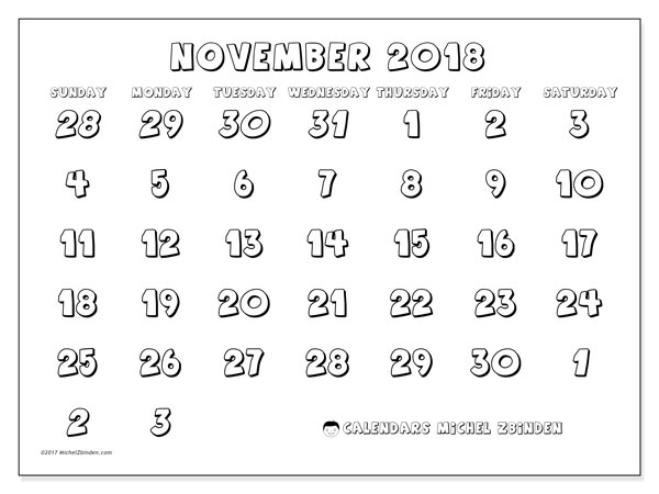 Calendar November 2018 (71SS). Free printable monthly planner.