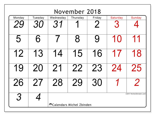 Calendar November 2018 (72MS). Monthly planner to print free.