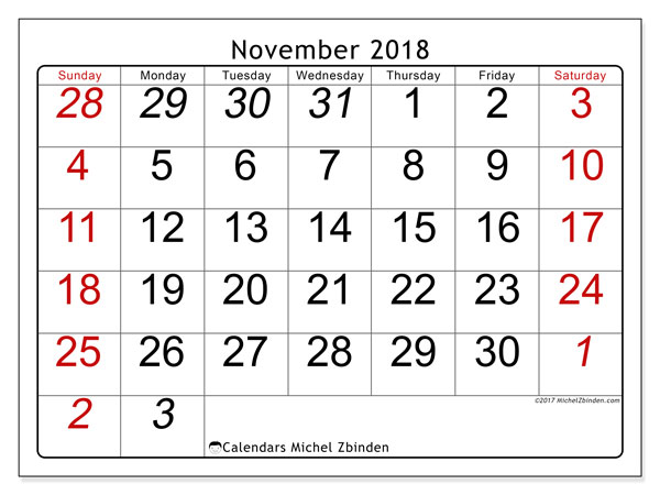Calendar November 2018 (72SS). Free printable monthly calendar.