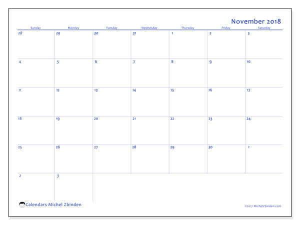 Calendar November 2018 (73SS). Free printable calendar.
