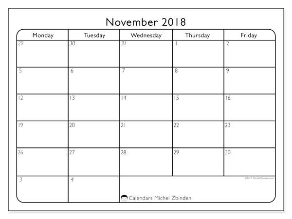 Calendar November 2018 (74MF). Free bullet journal to print.