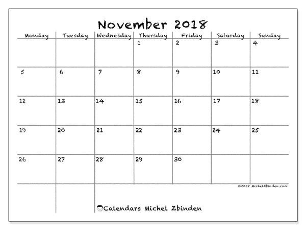 Calendar November 2018 (77MS). Free printable monthly calendar.