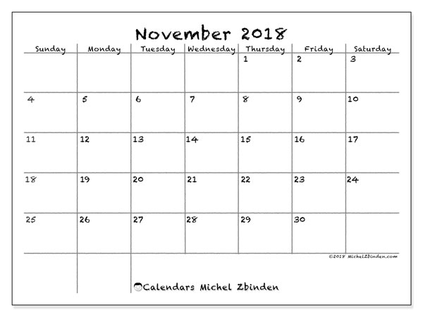 Calendar November 2018 (77SS). Free printable bullet journal.