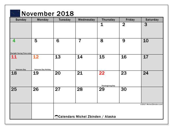 Calendar November 2018, with the holidays of Alaska. Free printable monthly calendar.
