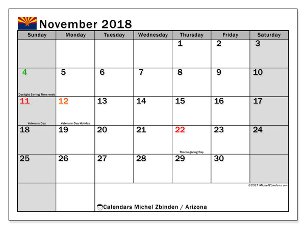 Calendar November 2018, with the holidays of Arizona. Monthly planner to print free.