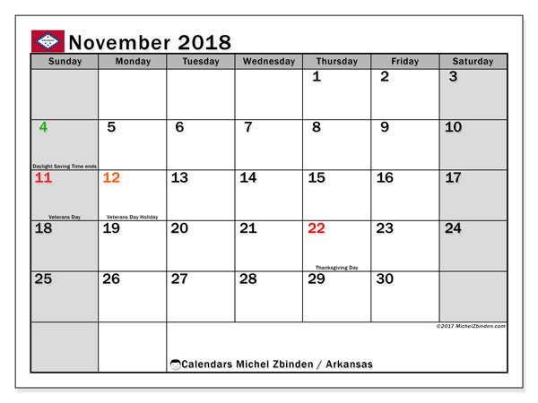 Calendar November 2018, with the holidays of Arkansas. Free bullet journal to print.