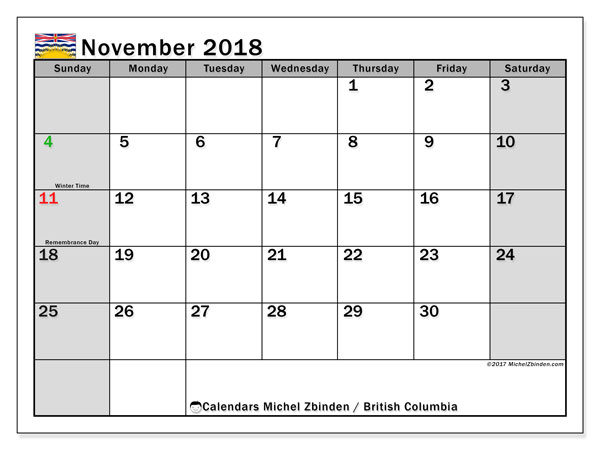 Calendar November 2018, with the holidays of British Columbia. Free planner to print.