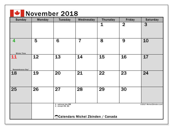 Calendar November 2018, with the holidays of Canada. Free bullet journal to print.