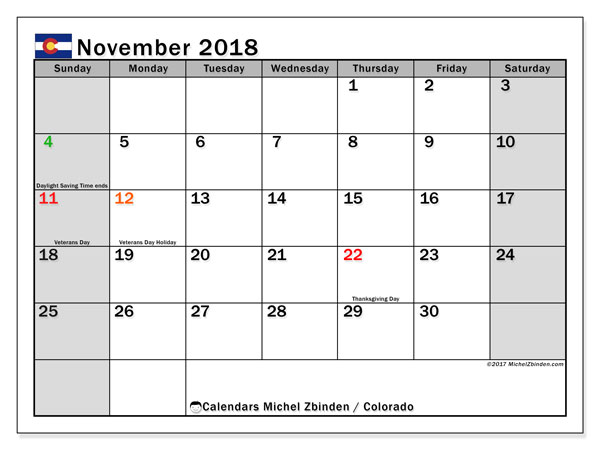Calendar November 2018, with the holidays of Colorado. Free printable planner.