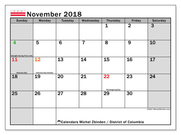Calendar November 2018, with the holidays of the District of Columbia. Free planner to print.
