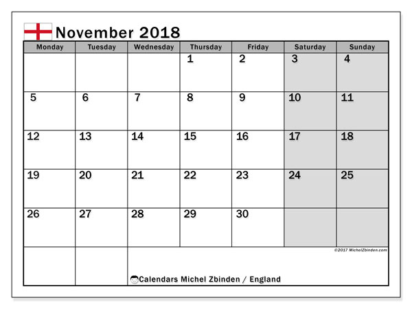 Calendar November 2018, with the holidays of England. Free calendar to print.