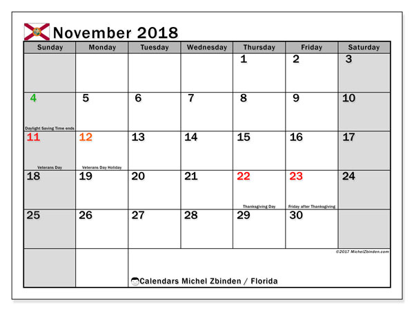 Calendar November 2018, with the holidays of Florida. Free printable calendar.