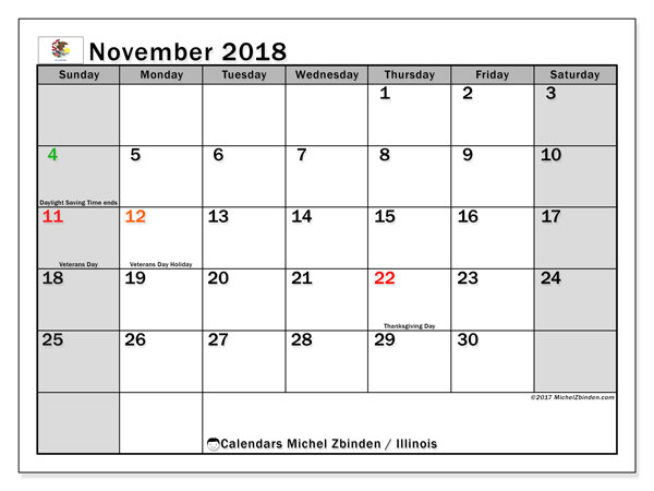 Calendar November 2018, with the holidays of Illinois. Calendar for the month to print free.