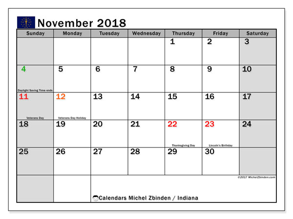 Calendar November 2018, with the holidays of Indiana. Free printable planner.
