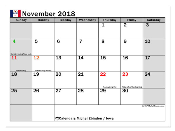 Calendar November 2018, with the holidays of Iowa. Calendar for the month to print free.