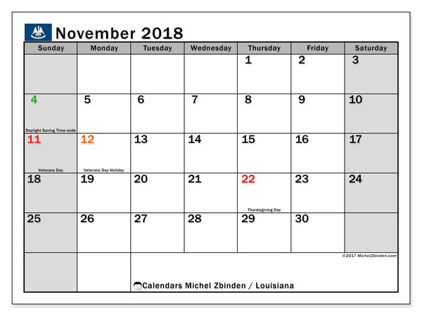 Calendar November 2018, with the holidays of Louisiana. Free printable monthly calendar.
