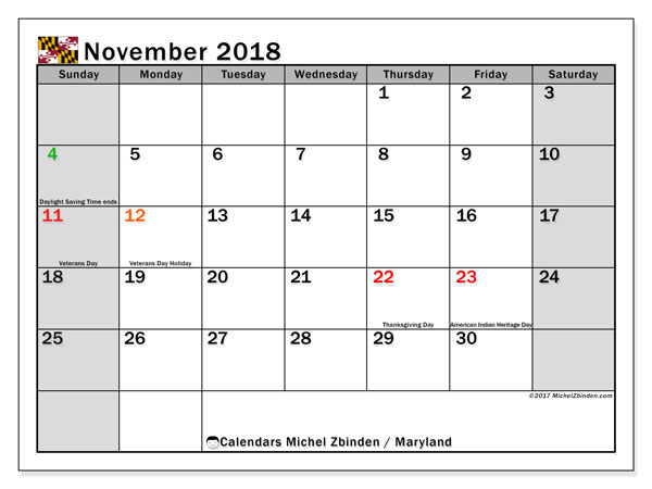 Calendar November 2018, with the holidays of Maryland. Free bullet journal to print.