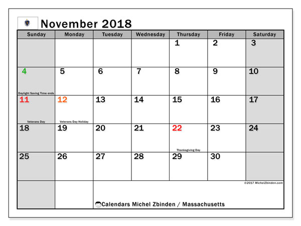 Calendar November 2018, with the holidays of Massachusetts. Free printable monthly calendar.