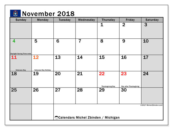 Calendar November 2018, with the holidays of Michigan. Free planner to print.