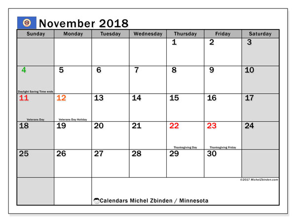 Calendar November 2018, with the holidays of Minnesota. Monthly planner to print free.