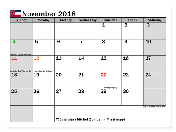 Calendar November 2018, with the holidays of Mississippi. Planner to print free.