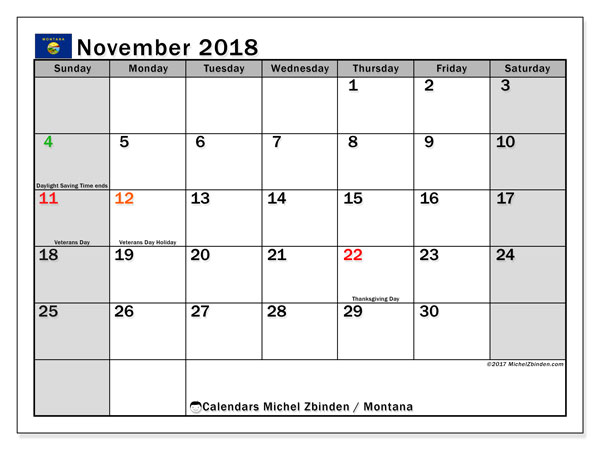 Calendar November 2018, with the holidays of Montana. Planner to print free.