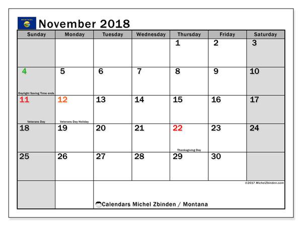 Calendar November 2018, with the holidays of Montana. Free calendar to print.