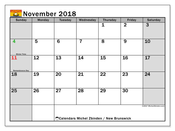 Calendar November 2018, with the holidays of New Brunswick. Free printable monthly planner.