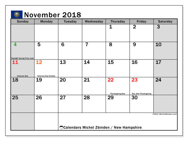 Calendar November 2018, with the holidays of New Hampshire. Free planner to print.