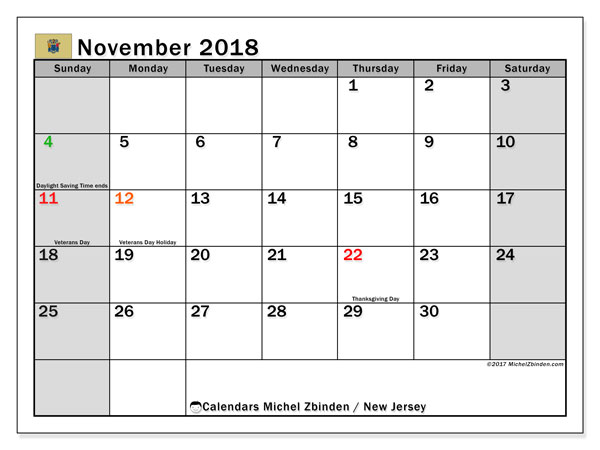 Calendar November 2018, with the holidays of New Jersey. Free bullet journal to print.