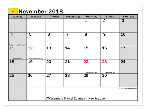 Calendar November 2018, with the holidays of New Mexico. Bullet journal to print free.