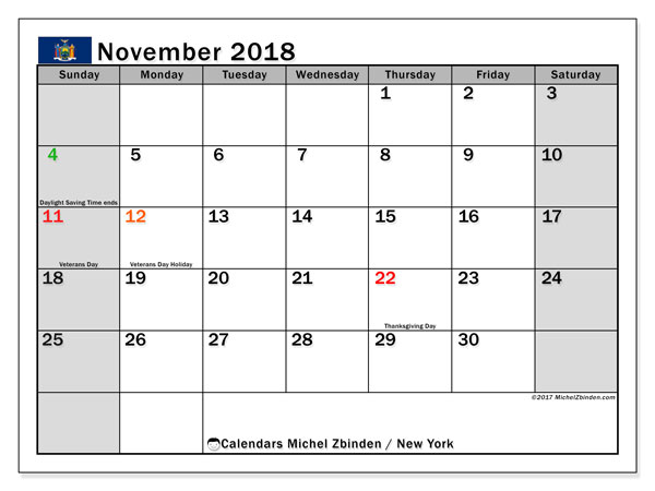 Calendar November 2018, with the holidays of New York. Calendar for the month to print free.